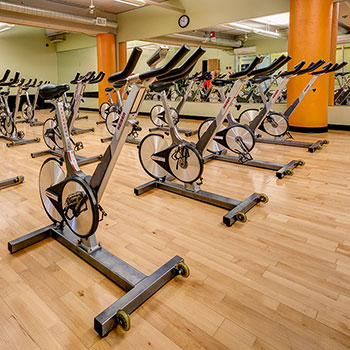 Featuring a spin class room in our Denver, Colorado fitness center.